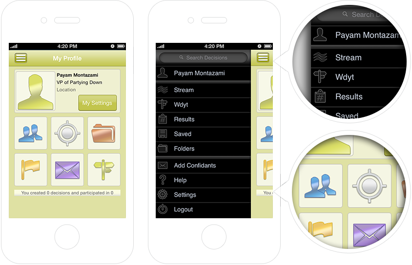 gDecide iOS User Interface and User Experience Design